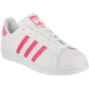 Adidas Superstar J, Chaussures de Gymnastique Mixte Enfant, Blanc Cassé (FTWR White/Real Pink S18/Ftwr White), 38 2/3 EU
