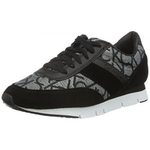 Calvin Klein Jeans Tea Metallic Jacquard/Suede, Baskets Basses Femme, Multicolore (Silver/Black), 39 EU