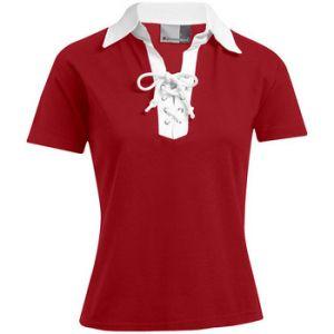 Promodoro Polo retro Femmes tion, XL, rouge feu / blanc