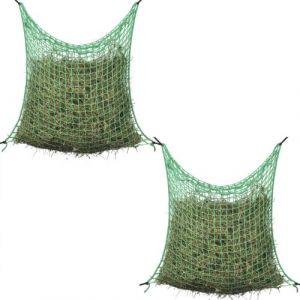 VidaXL Filet à Foin 2 pcs Carré 0,9x1,5 m PP Filet à d'alimentation pour Cheveux poneys
