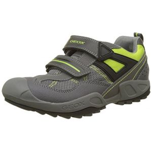 Geox J New Savage A, Sneakers Basses Garçon, Gris (DK Grey/Lime), 35 EU