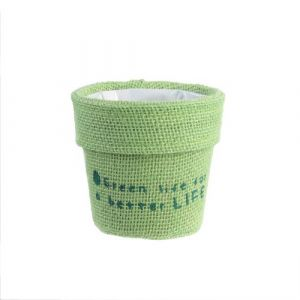 The home deco factory Cache pot en jute plastifié Little Garden - Diam. 13 cm - Vert clair