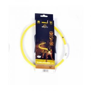 Duvo Anneau Lumineux Seecurity Flash Light Ring USB Nylon - 45 cm - Jaune - Pour chien