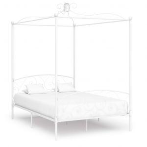 VidaXL Cadre de lit à baldaquin Blanc Métal 140 x 200 cm