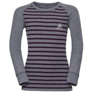Odlo Vêtements intérieurs Shirt L/s Crew Neck Warm Kids - Grey Melange / Pickled Beet / Stripes - Taille 128