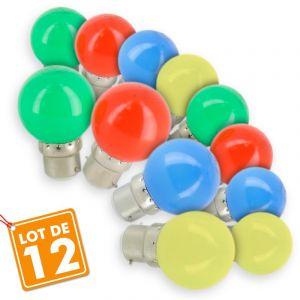 Eclairage design Lot de 12 Ampoules B22 Panaché Guirlande guinguette extérieur