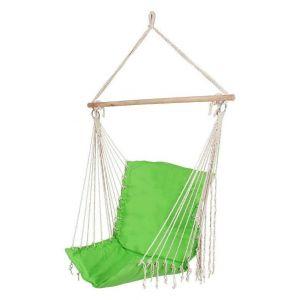 Hamac chaise fauteuil suspendu extérieur vert 130 cm