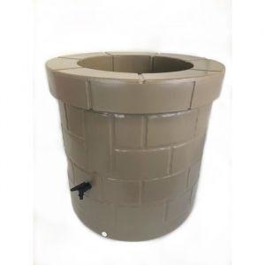 PLAST'UP Récupérateur d'eau de pluie et puit - 340 L - Gris taupe