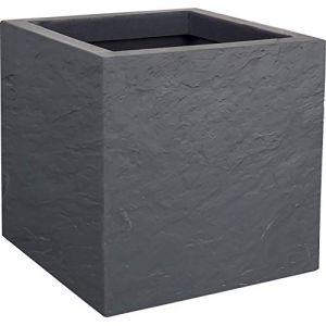 Eda Plastiques Jardinière carrée Volcania Up effet pierre 21 L Gris Galet