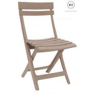 Grosfillex Chaise de Jardin Miami Pliante Lin Gris