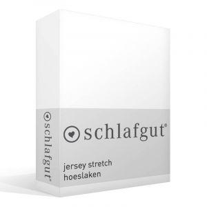 Schlafgut Drap-housse en jersey élasthanne, Coton, weiss, 220 x 100 x 1 cm