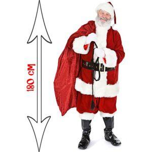 Figurine géante Père Noël avec hotte (180 cm)