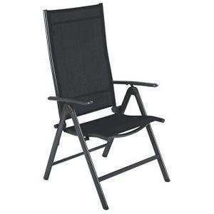 Ultranatura Fauteuil de jardin pliant en aluminium, gamme Korfu, gris anthracite, Chaise de jardin extérieur pliable, confortable