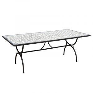 Table à manger rectangulaire Carreaux de ciment 200 x 100 cm Beige