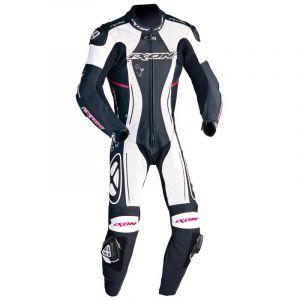 Ixon Combinaison cuir femme ASTRALE noir/blanc/fushia - L