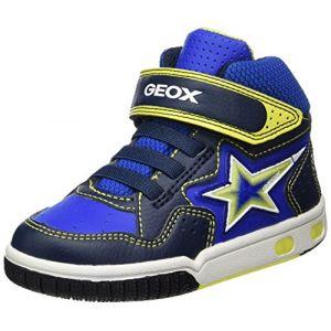 Geox Jr Gregg A, Baskets Hautes garçon, Bleu (Navy/Lime), 37 EU