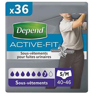 Depend Active Fit Homme Taille S/M x36 - 4 Paquets de 9 Sous-Vêtements