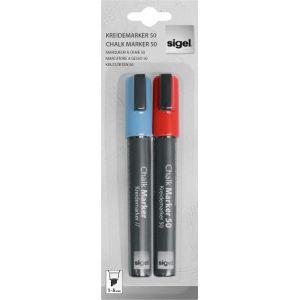 Sigel GL183 - Lot de 2 marqueurs à craie liquide, pointe 1-5 mm, 2 couleurs