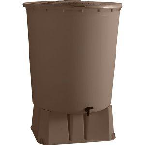 Belli Récupérateur d'eau de pluie rond + Socle taupe 500 L + Kit raccord chéneau JARDIN