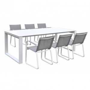 Delorm Design Ensemble table + 6 chaises Swithome Syracuse Aluminium/Gris clair
