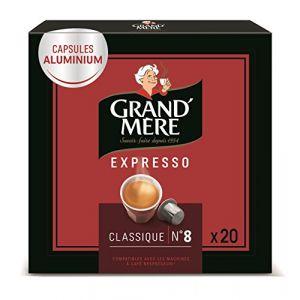 Grand'mère Capsules Expresso Classique Intensité N°8-100 Capsules en Aluminium Compatibles avec les Machines Nespresso®* (Lot de 5x20 capsules)