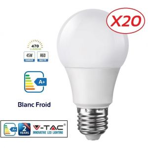 Lampesecoenergie Lot de 20 Ampoules LED V-TAC Culot E27 7W (éq. 45W) 470lm angle 200° lumière Blanc Froid 6400K