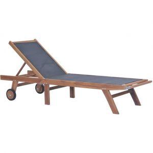 VidaXL Chaise longue pliable avec roulettes Teck massif et textilène