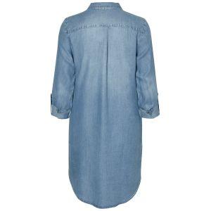 Vero Moda NOS Vmsilla Ls Short Dress Lt BL Noos GA Robe, Bleu Light Blue Denim, 40 (Taille Fabricant: Medium) Femme