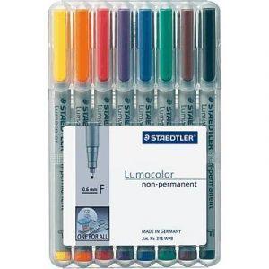Staedtler Pochette de 8 feutres pour rétroprojection - pointe fine - encre soluble - coloris assortis