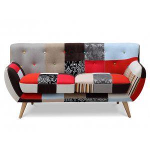 Canapé 2 places SERTI - Tissu patchwork nuances rouge/noir