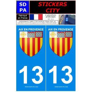 """SDPA SC13 - 2 autocollants pour plaque d'immatriculation """"Aix en Provence"""""""