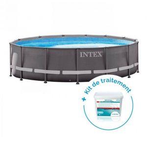 Intex Pack Piscine tubulaire Ultra Frame 4.27 x 1.22 m + Traitement pour piscines < 20 m³
