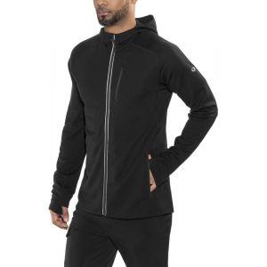 Icebreaker Mens Quantum LS Zip Hood Veste Polaire Homme, Black, FR : S (Taille Fabricant : S)