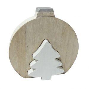 Boule en bois avec sapin naturel/blanc 12,5 cm