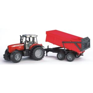 Bruder Toys 2045 - Tracteur Massey Ferguson 7480 avec remorque benne - Echelle 1:16
