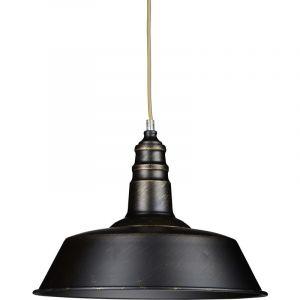 Relaxdays Luminaire lampe à suspension plafonnier de style industriel hauteur ajustable vintage retro socle en bois abat-jour métal optique laiton
