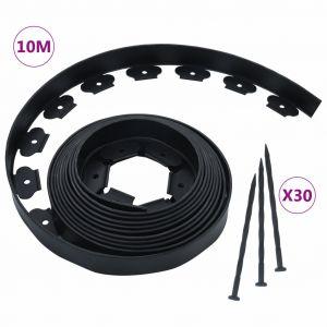 VidaXL Bordure de pelouse flexible avec 30 piquets 10 m 5 cm