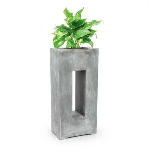 Blumfeldt Airflor - Bac à plantes 45 x 100 x 27 cm - Fibre de verre - gris clair