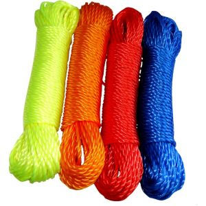 Aerzetix Lot de 4 bobines de corde fil à linge 4mm 20m en nylon couleurs variables
