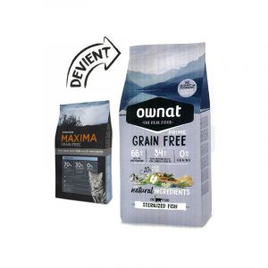 Ownat Croquettes pour chat stérilisé grain free prime Poulet et dinde 8 kg