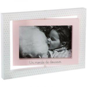 Atmosphera Cadre photos -Swing- L, 23,7 x l, 16,8 x H, 1,8 cm Blanc/rose