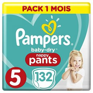 Pampers Baby Dry Pants - Couches-culottes Taille 5 (12-17 kg) - Pack 1 mois (x132 culottes)
