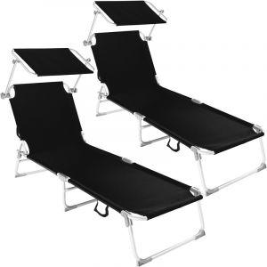 TecTake 2 Chaises longues, Transat, Bain de soleil, Pare Soleil, Pliables Aluminium 190 cm Noir