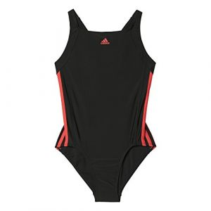Adidas BP5450 Maillot de Bain Fille, Black/Core Pink, (FR_116)(Taille Fabricant:5-6 Ans)