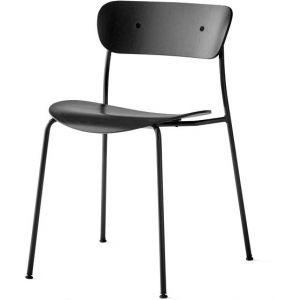 &tradition Chaise empilable Pavilion AV1 / Bois laqué noir,laiton en bois