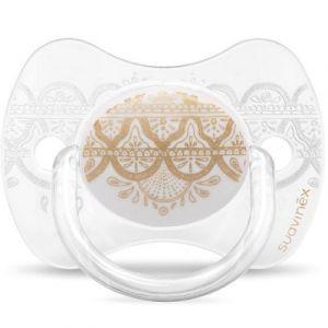 Suavinex Sucette anatomique réversible Couture Ethnic blanc et doré en silicone (0-4 mois)