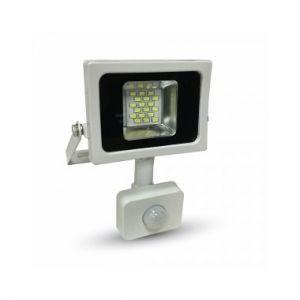 V-TAC Projecteur LED 10W (lumière 50W) à détecteur VT-4810PIR | Gris - Blanc Froid (6000K)