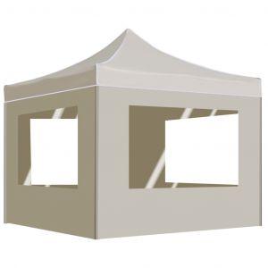 VidaXL Tente de réception pliable avec parois Aluminium 3 x 3 m Crème