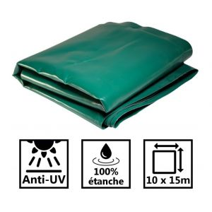 Toile de toit pour tonnelle et pergola 680g/m² verte 10x15m PVC
