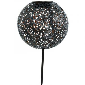 Eglo LED solaire boule plug lampe noir argent chemin de jardin décoration extérieur terrasse lumière 48792